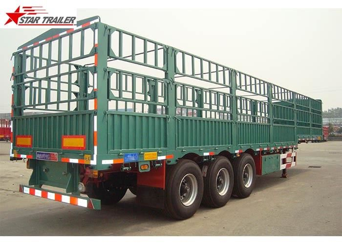Q345 Carbon Steel Dropside Tipping Trailer , Roof Opened Drop Side Trailer