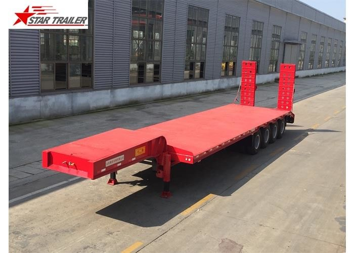Easy Operate Extendable Drop Deck Trailer, Extendable Lowboy Trailer With Fixed Landing Leg